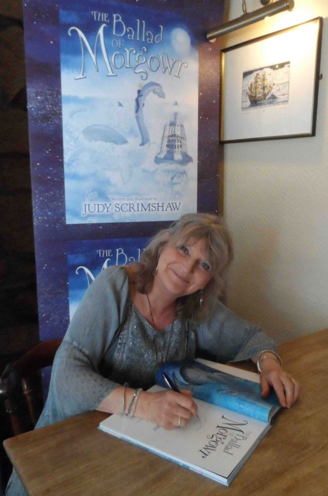 Judy Scrimshaw author of The Ballad of Morgowr at her book launch and book signing